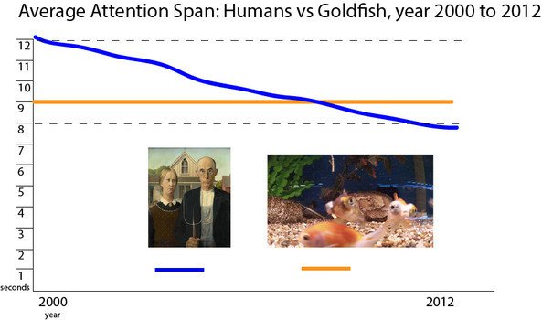 Line Graph: Attention Span (Human & Goldfish Comparison)