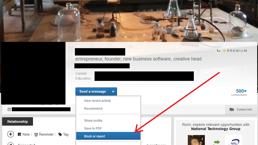 Report LinkedIn Connection as Spam
