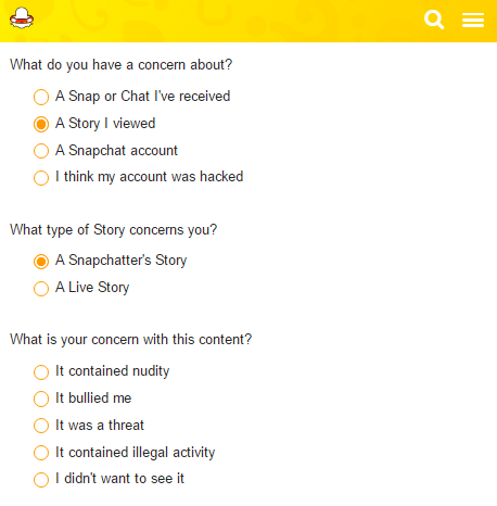 Snapchat Support: Report Abuse