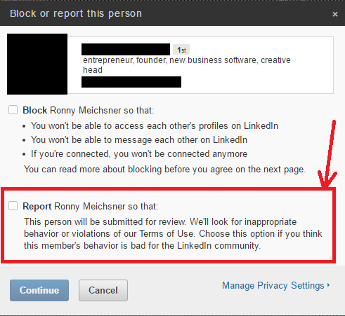 Block/Report LinkedIn Connection