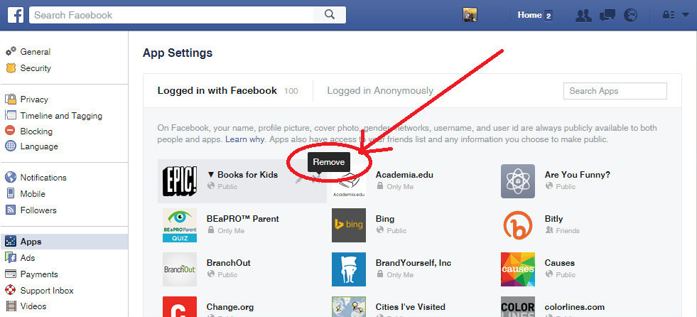Check Facebook apps (App Settings)