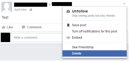 Delete Facebook Post from Timeline