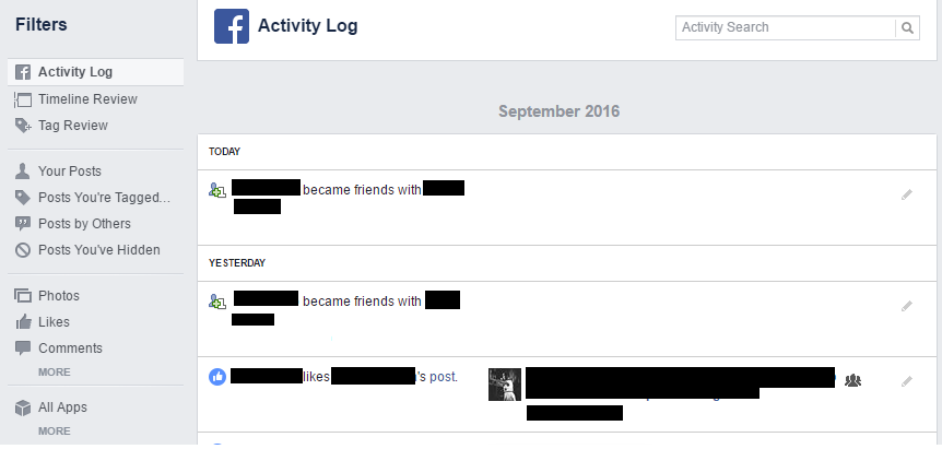Facebook Activity Log (Example)