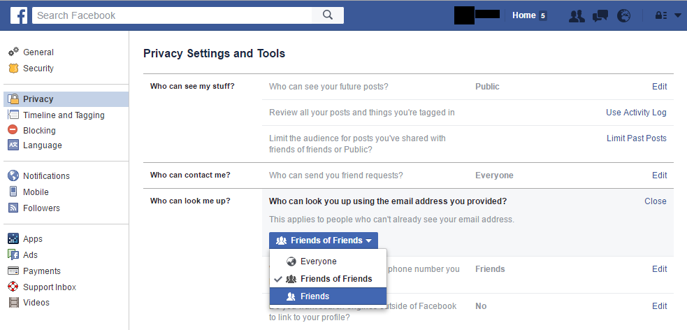 Facebook Privacy Settings Email