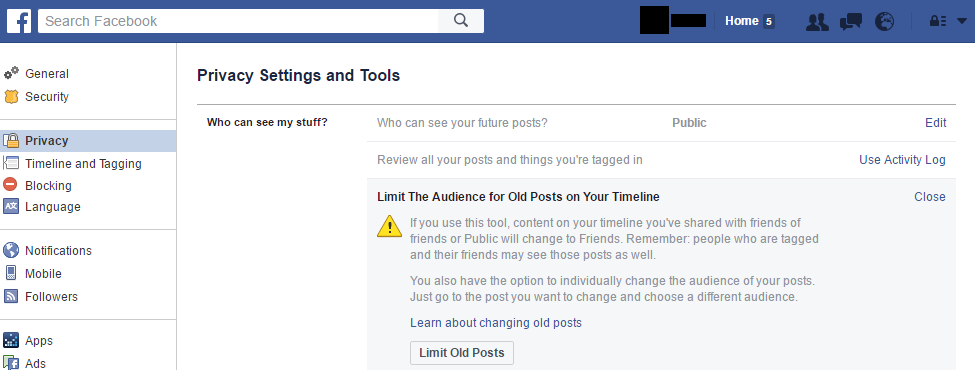 Facebook Privacy Settings Limit Audience
