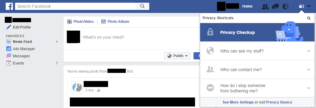 Facebook Privacy Settings (Main Page)