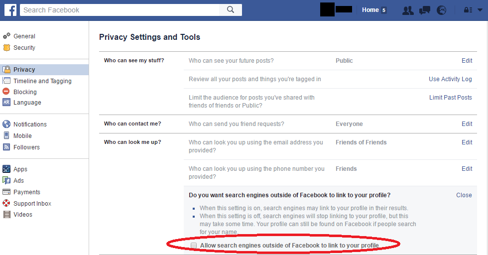 Facebook Privacy Settings: Search Engines