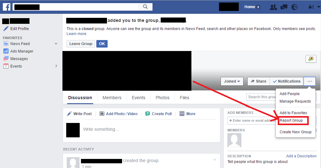 Report a Facebook Group (Step 1)