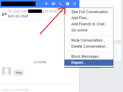 Facebook: Report Inbox Message