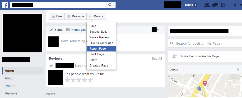 Report a Facebook Page (Step 1)