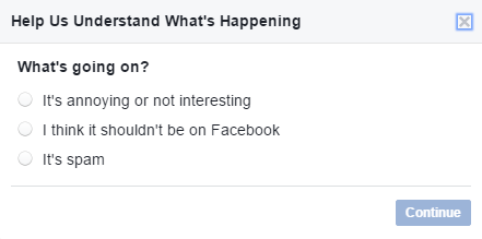 Facebook: Report a Post (What's Going On?)