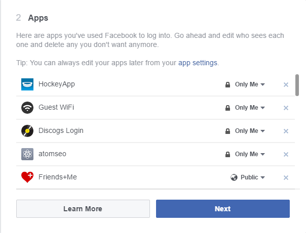 Review Facebook Apps - Privacy Settings 2016