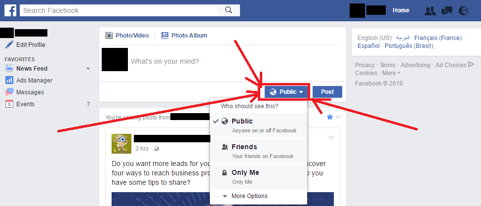 Review Facebook Posts - Privacy Settings (Who Should See This?)