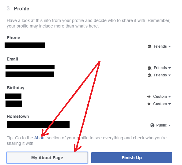 Review Facebook Profile Privacy Settings - About Page (2016)
