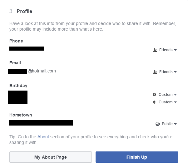 Review Facebook Profile Privacy Settings 2016