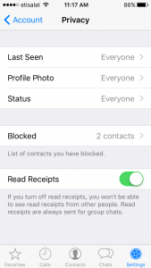 WhatsApp Privacy Settings - Account