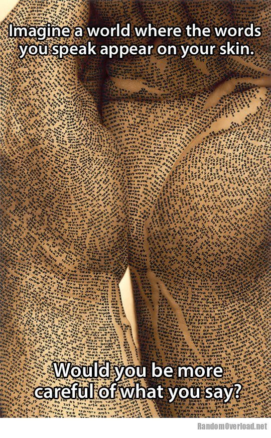 Bullying Quote: Imagine a World (words appear on skin)