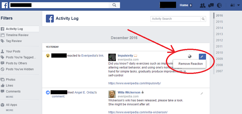 Facebook Like (Remove Reaction Activity Log)