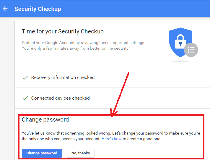 Gmail Security Checkup (Change Password)