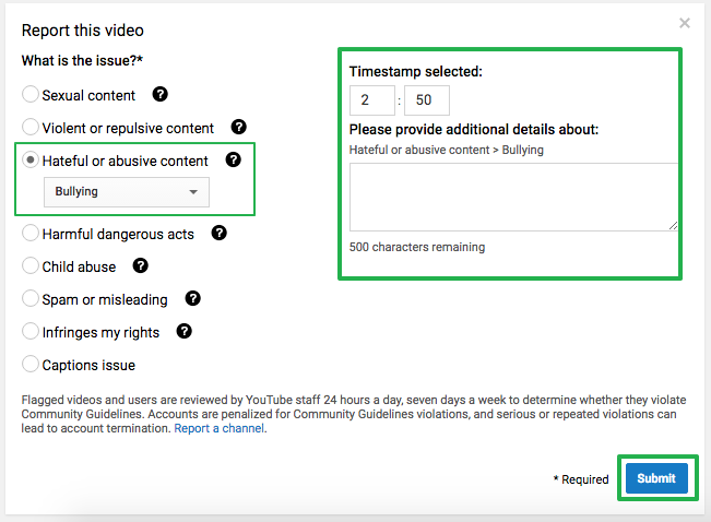Report YouTube Video - Abusive Content (Timestamp)
