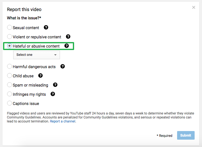 Report Video on YouTube (Abusive Content)